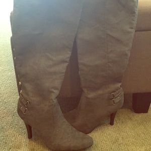 New Directions gray microfiber tall boots